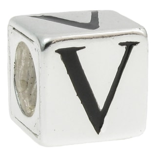 Queenberry Sterling Silver Dice Cube Letter 'V' European Bead Charm