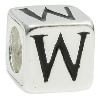 Queenberry Sterling Silver Dice Cube Letter 'W' European Bead Charm