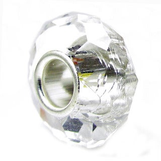 Sterling Silver April Birthstone Clear Crystal European Bead Charm