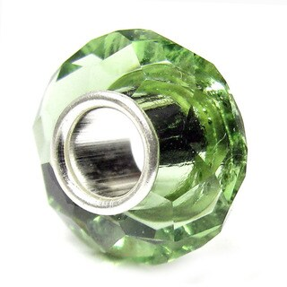 Queenberry Sterling Silver May Birthstone Emerald Crystal European Bead Charm