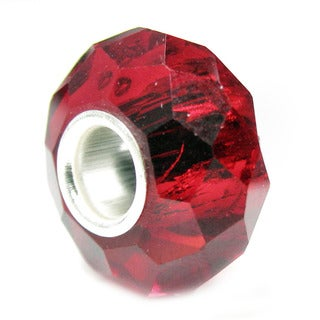 Queenberry Sterling Silver January Birthstone Red Crystal European Bead Charm