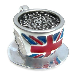 Queenberry Sterling Silver Britain Flag Union Jack Tea Cup European Bead Charm