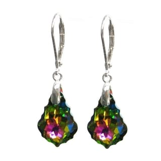 Queenberry Sterling Silver Baroque Shaped Vitrial Medium Crystal Leverback Dangle Earrings