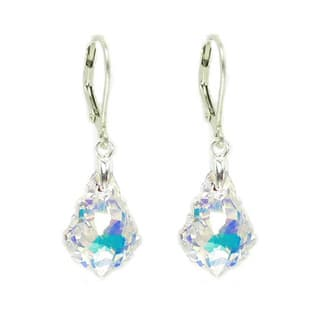 Queenberry Sterling Silver Baroque Shaped AB Crystal Leverback Dangle Earrings https://ak1.ostkcdn.com/images/products/10128330/P17266016.jpg?impolicy=medium