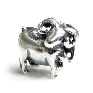 Queenberry Sterling Silver Aries Sheep Horoscope European Bead Charm