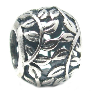 Queenberry Sterling Silver Round Tree of Love Leaf European Bead Charm