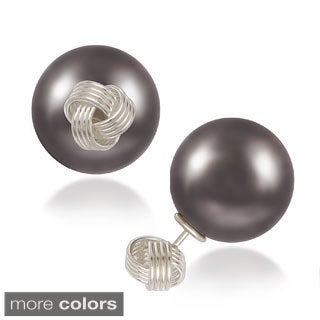 La Preciosa Sterling Silver Love Knot and 16mm Pearl Reversible Stud Earrings