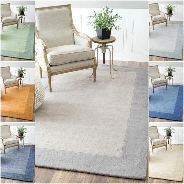Nuloom Handmade Solid Border Wool Rug 7 6 X 9 6 Free