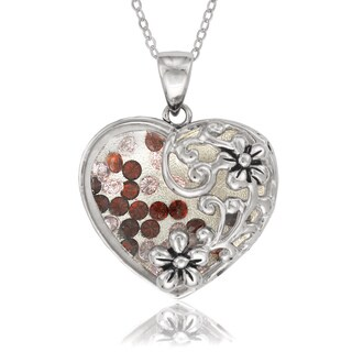 La Preciosa Sterling Silver Floating Crystal Heart with Flowers Pendant