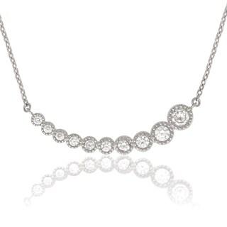 La Preciosa Sterling Silver Graduating Cubic Zirconia Curved Bar Necklace