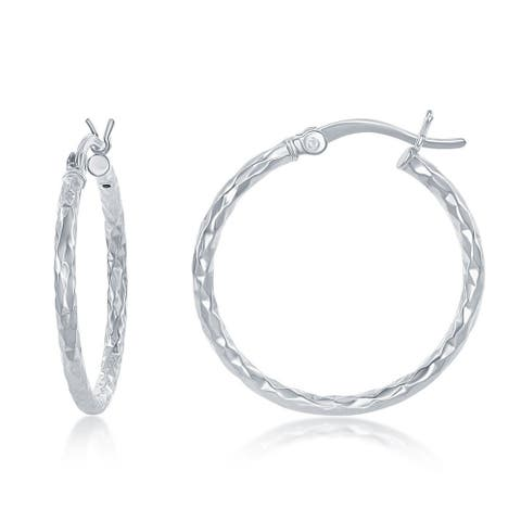 La Preciosa Sterling Silver Diamond-cut Hoop Earrings