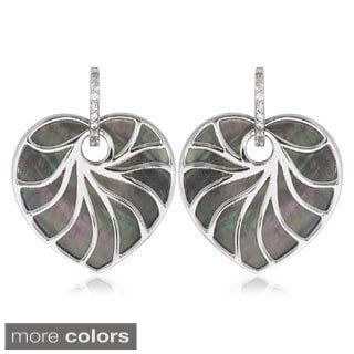 La Preciosa Sterling Silver Mother of Pearl Heart Earrings