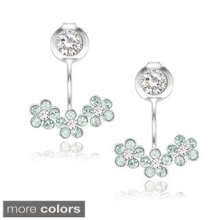 La Preciosa Sterling Silver Crystal Flower Stud Behind-the-ear Earrings
