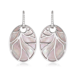 La Preciosa Sterling Silver Pink Mother of Pearl Oval Earrings