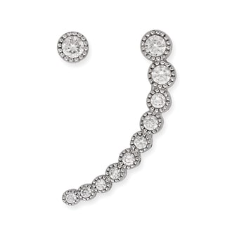 La Preciosa Sterling Silver Curved Cubic Zirconia Ear Crawler Climber and Stud 30 mm Earrings
