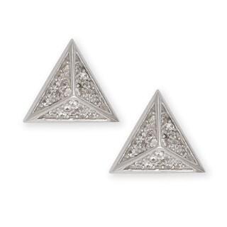 La Preciosa Sterling Silver Cubic Zirconia Pyramid-Style Stud Earrings