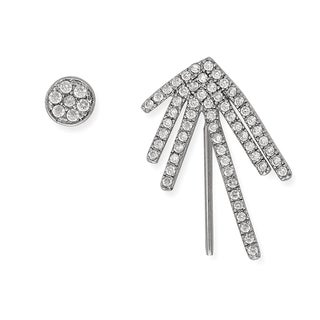 La Preciosa Sterling Silver Cubic Zirconia Ear Crawler Climber and Stud Earrings