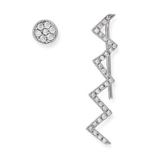 La Preciosa Sterling Silver Zig-Zag Cubic Zirconia Ear Crawler Climber and Stud Earrings