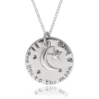 La Preciosa Sterling Silver 'Love you to the moon and back' Circle with Moon Pendant