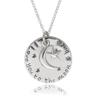 La Preciosa Sterling Silver 'Love you to the moon and back' Circle with Moon Pendant|https://ak1.ostkcdn.com/images/products/10128594/P17266229.jpg?_ostk_perf_=percv&impolicy=medium