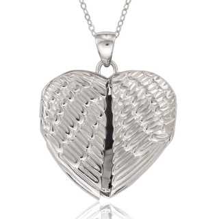 La Preciosa Sterling Silver Angel Wings Heart Locket