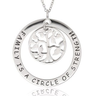 La Preciosa Sterling Silver 'Family is a Circle of Strength' with Tree of Life Pendant