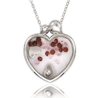 La Preciosa Sterling Silver Floating Crystal Heart Mother and Baby Pendant