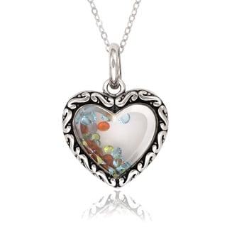 La Preciosa Sterling Silver Floating Crystal HeartPendant