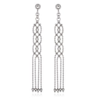 La Preciosa Sterling Silver Long Diamond-cut Bead Earrings