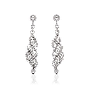 La Preciosa Sterling Silver Diamond-cut Bead Triple Twist Earrings