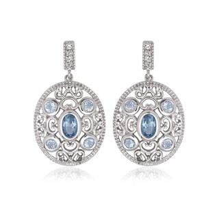 La Preciosa Sterling Silver Blue and White Topaz Oval Earrings