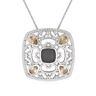La Preciosa Sterling Silver Gemstone Square Pendant