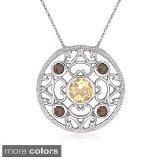 La Preciosa Sterling Silver Gemstone Circle Pendant