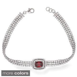 La Preciosa Sterling Silver Triple Row Cubic Zirconia Bracelet