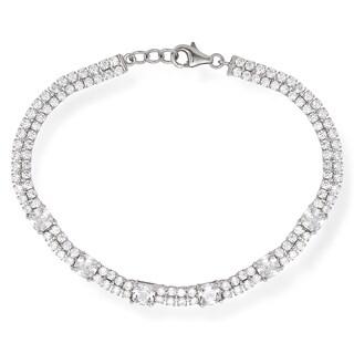 La Preciosa Sterling Silver Double Row Cubic Zirconia Tennis Designed Bracelet