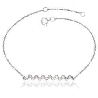 La Preciosa Sterling Silver Bezel-set Cubic Zirconia Zig-Zag Bar Bracelet