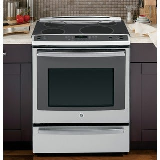 ge profile 30 inch slidein electric induction convection range with warming