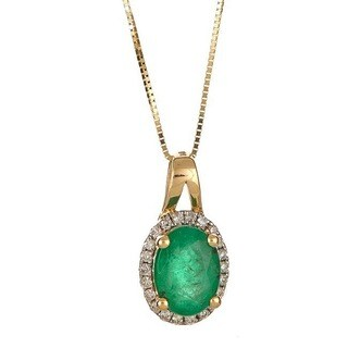 Anika and August 14k Yellow Gold Oval-cut Emerald 1/8ct TDW Diamond Necklace (G-H, I1-I2)