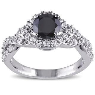Miadora Silver Created White Sapphire 1ct TDW Black Diamond Ring