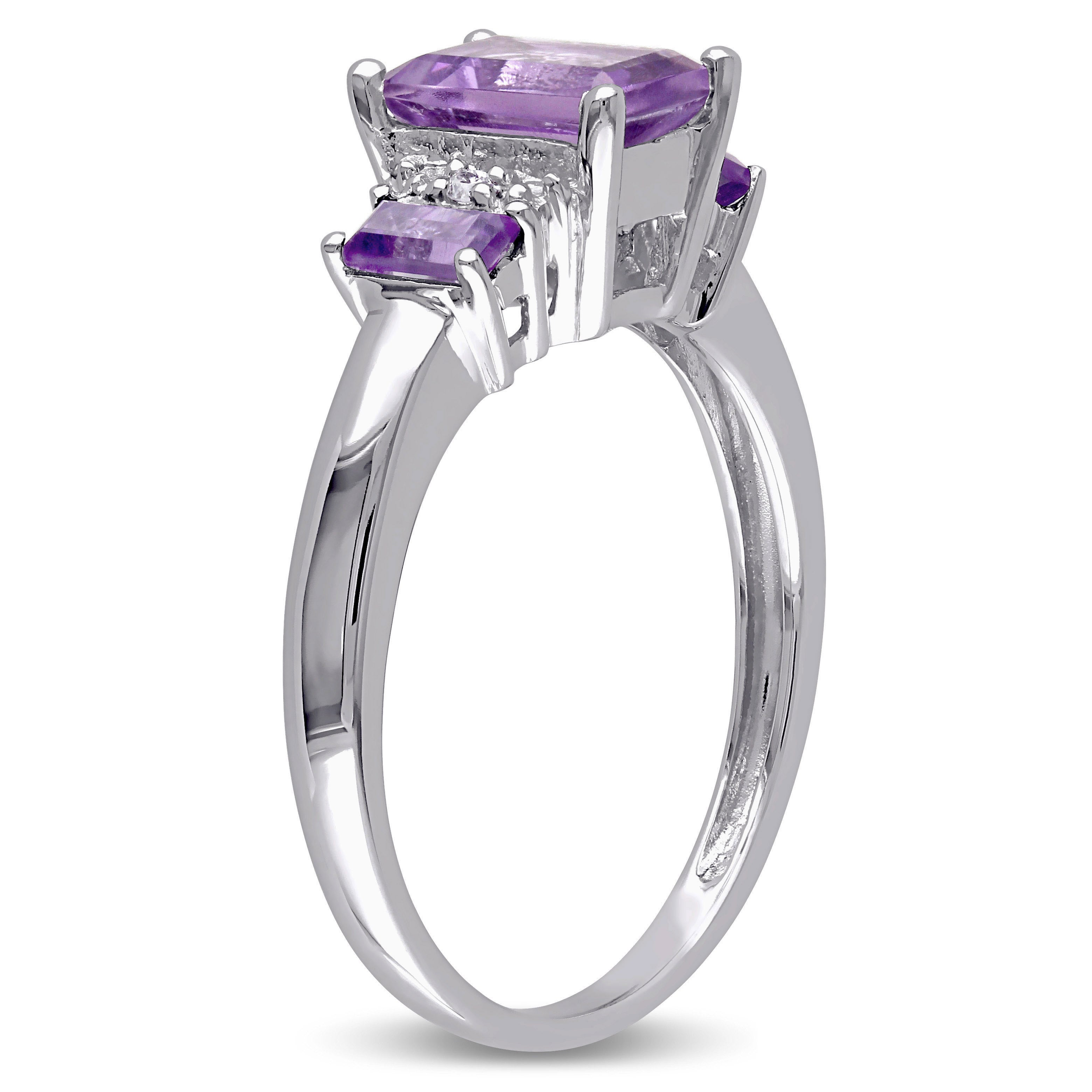 Details about  /Three stone 0.92 Cts Amethyst Vivid Purple 14k White Gold Accent Ring