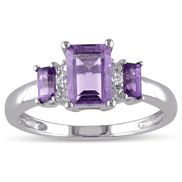 Miadora 10k White Gold Amethyst and Diamond Accent 3-stone Ring