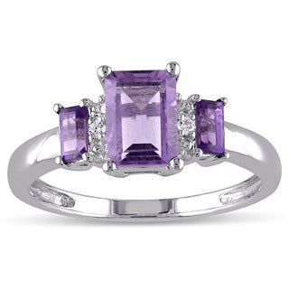 Miadora 10k White Gold Amethyst and Diamond Accent 3-stone Ring