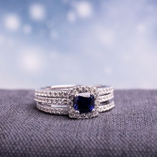 Miadora Sterling Silver Created Blue and White Sapphire Bridal Ring Set