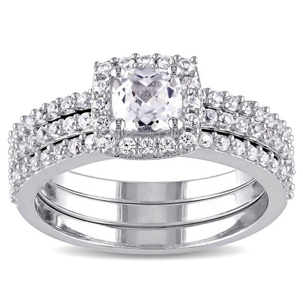 miadora sterling silver cushion and round cut created white sapphire halo 3 piece bridal - 3 Piece Wedding Ring Sets
