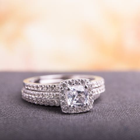 Miadora Sterling Silver Cushion and Round-cut Created White Sapphire Halo 3-piece Bridal Ring Set
