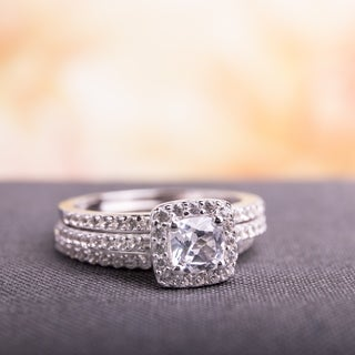 miadora sterling silver cushion and round cut created white sapphire halo 3 piece bridal - Engagement And Wedding Ring Set
