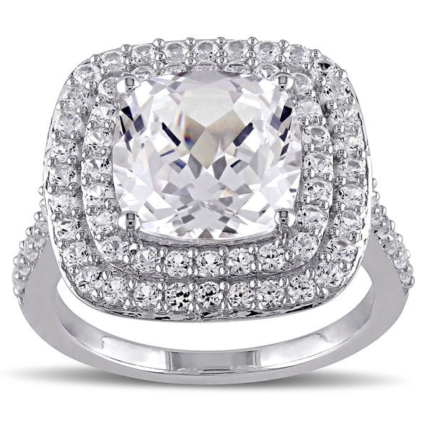 Miadora Sterling Silver Created White Sapphire Cocktail Ring