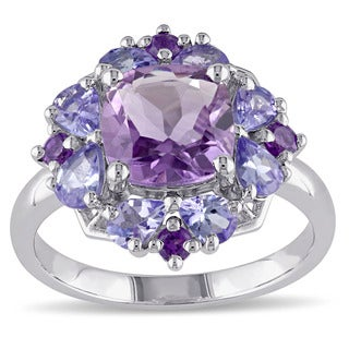 Miadora Sterling Silver Amethyst and Tanzanite Ring (5 options available)