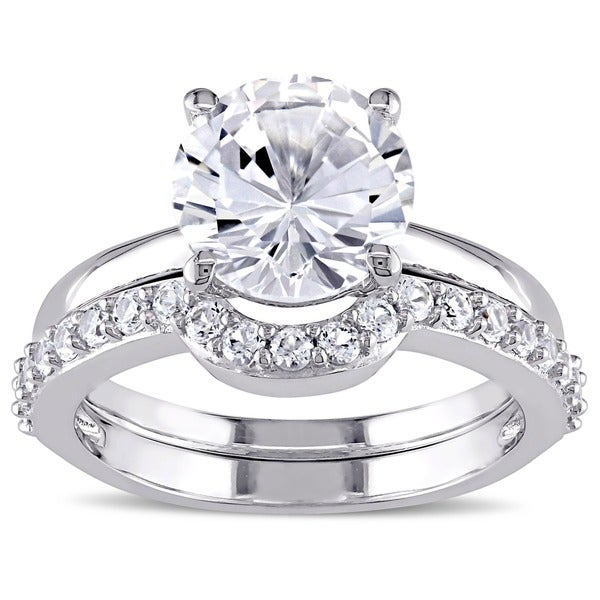 Miadora 10k White Gold Created White Sapphire Solitaire Bridal Ring Set