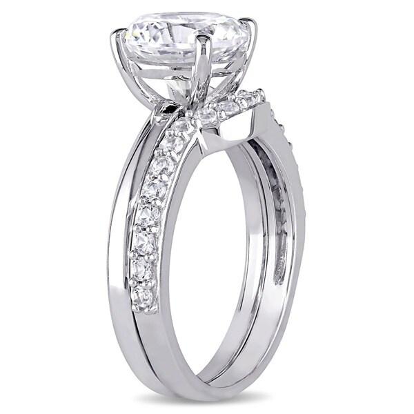 Miadora 10k White Gold Created White Sapphire Solitaire Bridal